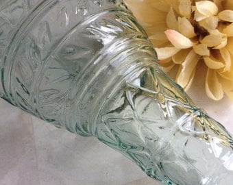 Vintage Green Glass Bottle Canada / Embossed Canadian Water Decanter - #2302