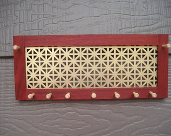 Sustainably harvested paduak jewelry organizer - earring holder - jewelry holder - woodworking - Asian hardwood - unionjack screen
