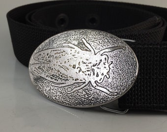Cicada Belt Buckle - Etched Stainless Steel - Handmade