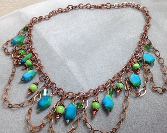 Wire wrapped shades of teal and green chain necklace