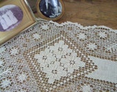 Vintage Dresser Scarf, Table Runner, Hand Crocheted Floral Design