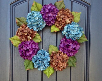 Hydrangea Fall Wreath Summer Wreath Grapevine Door Wreath Turquoise/Blue Purple Brown Hydrangea Floral Door Decoration Indoor Outdoor