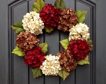 Autumn Wreath Summer Wreath Fall Grapevine Door Wreath Decor Cream Red Brown Hydrangea Floral Door Decoration Indoor Outdoor Wreath