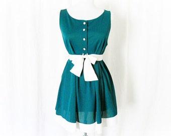 Vintage 60s Babydoll Nightie M Teal Color Block White Border Belted Gossard Artemis Night Gown Sleepwear Lingerie