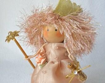 Fairy Godmother Art Doll, Clothespin Doll, Peg Doll, Magic Wand Doll, Peach Gown, Pegtales Moonbeams and Fairy Dust