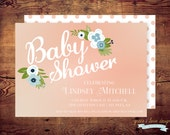 Printable Peach floral baby shower Invitation (digital file) DIY print on your own