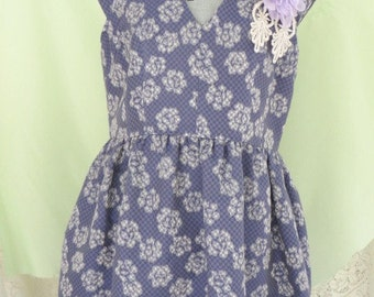Upcycled Vintage Jacquard Weave LAVENDER Flower Dress - Size  - 12 - SUPER SALE
