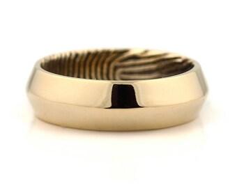 Custom Fingerprint Engraved Ring - 14k Yellow Gold Engraving Wedding Band- knife edge, 6mm