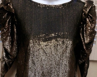 Glam Disco Diva Metallic Gold Top Shirt