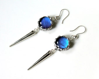 Blue Butterfly Spike Earrings, Blue Morpho Butterfly, Round Dome Blue Morpho Earrings
