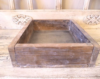 Rustic Wood and Tray with Mesh/ Screen Bottom - Great for Plants or Display - or Crafts - Industrial Farm Tray