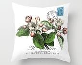 Throw Pillow Cover - Apple Blossom on Vintage Ephemera - 16x16, 18x18, 20x20 - Pillow case Original Design Home Décor by Adidit