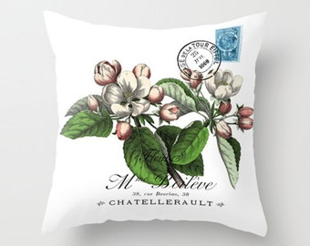 Throw Pillow Cover - Apple Blossom on Vintage Ephemera - 16x16, 18x18, 20x20 - Pillow case Original Design Home Décor by Adidit