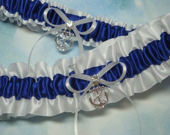 White and Royal Blue Satin Garter Set with Anchor