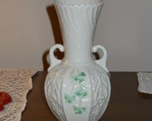 Vintage Belleek Porcelain Vase - Vintage Irish Fine China - Embossed White Vase with Clover Designs