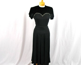 SALE 1930s Dress * 30s Cocktail Dress * Vintage 1930s Dress * 30s Black Dress * Swing Dress * Rayon and Velvet Dress