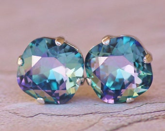 RARE Swarovski Blue Lagoon Blue Purple Stud Earrings,Hot Rainbow Blue Cushion Stud,Rounded Square,Swarovski Stud Earrings,Rhinestone,Large