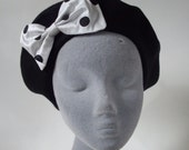 Black Hat- Black Beret Hat with White-Black Polka Dot Silk Bow
