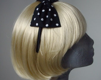 Black Headband, Black Bow Headband, Black Polka Dot Bow Headband, Black Aliceband, Black Hair Bow, Black Hair Accessories