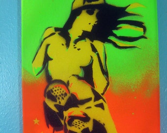 Sneaker Girl in Bright Neon Green & Orange on 8x10 Canvas - Original Stencil Handcut Painting by Jessica Pope