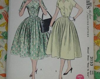 Vintage Pattern c.1955 McCall's No.3153 Dress, Size 14 Uncut