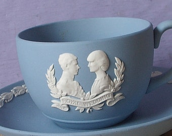 Vintage Princess Diana and Prince Charles Royal wedding teacup and saucer, Wedgwood blue jasperware, blue & White porcelain tea cup gift