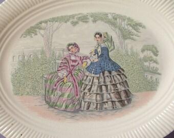 Vintage 1950's Salem China Godey Print oval platter, Victorian women in dresses, Shabby chic dinnerware, antique platter, ceramic plate