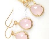 Pink Opal Bridesmaids Jewelry Set - Gold Blush Pink Necklace and Earrings Letter Initials Personalized Necklace