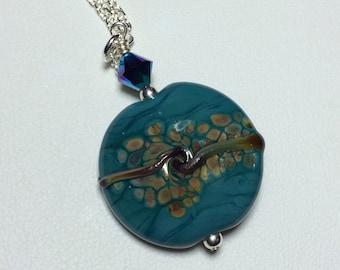 handmade lampwork pendant necklace, blue necklace