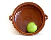 Vintage  terra cotta pottery serving bowl, rustic  ceramic bowl with handles
