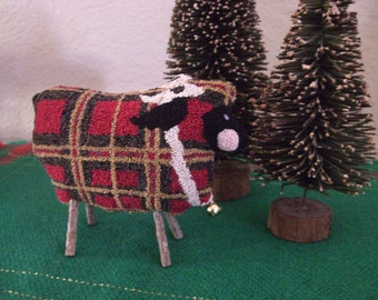 Primitive Tartan Red Plaid Punch Needle Sheep Pinkeep Punchneedle Finished Pin Cushion