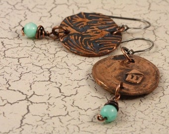 Rustic copper earrings with soft green hemimorphite stones