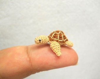 Micro Mini Sea Turtle - Amigurumi Crochet Miniature Tiny Stuffed Animal - Made To Order