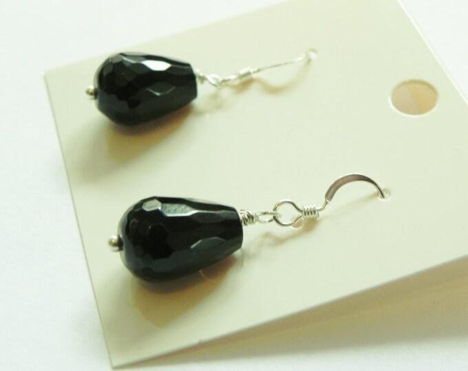 Black agate gemstone sterling silver drop , hook fastening