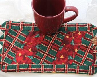 A Christmas Tree Plaid Masterpiece Quilt Mug Rug & Mug Set