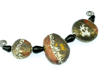 Black/Copper/Gold Polymer Clay Beads Collection