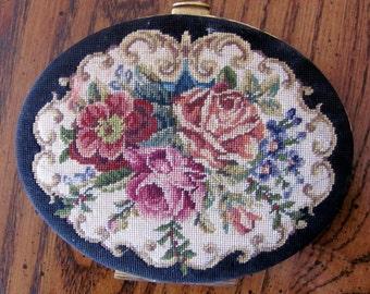 Vintage Needlepoint Compact Floral Petit Point Vintage Vanity Piece