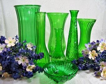 Vintage Emerald Green Hoosier Glass Vase Vases Bowl Table Decor Wedding Green Glass
