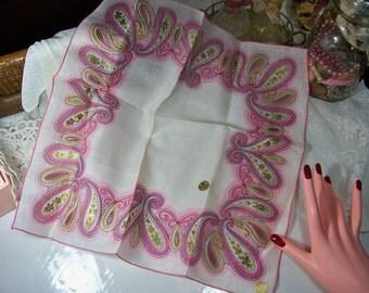 Vintage Ladies Handkerchief White Irish Linen Pink Paisley NWT