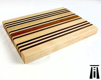Handcrafted Wooden Cutting Board in Maple, Cherry and Walnut