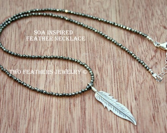 SOA Feather Necklace - Pyrite Necklace - Sterling Silver Feather Necklace - Sons Of Anarchy Inspired - Tara Necklace - Biker Jewelry - SRAJD