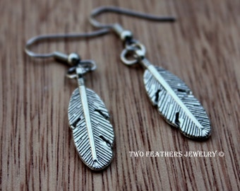 Silver Feather Earrings - Feather Jewelry - Silver Jewelry - Native Style - Tribal - Metal Feather - Boho - Minimalist - Two Feathers