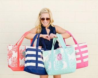 Beach Bag - Beach Tote -  Canvas Tote - Canvas Bag -  Monogrammed Canvas Beach Bag - Monogrammed Canvas Tote Bag