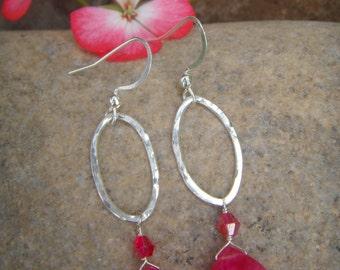 Hot Pink Earrings - Small Dangle Earrings - Sterling Silver Earrings - Fuchsia Chalcedony - Drop Earrings - Oval- Pink Quartz Earrings