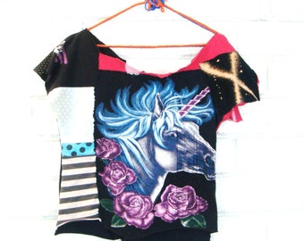 HANDMADE PATCHWORK TOP vintage unicorn t-shirt recycled materials gypsy punk S
