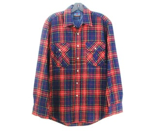 80's PLAID WOOL SHIRT vintage menswear men's red navy long sleeve button up L