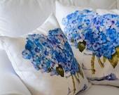Indoor Throw Pillow, Cape Cod Hydrangeas