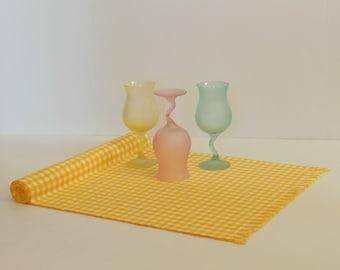 Yellow Table Runner, Gingham Table Runner, Spring Decor