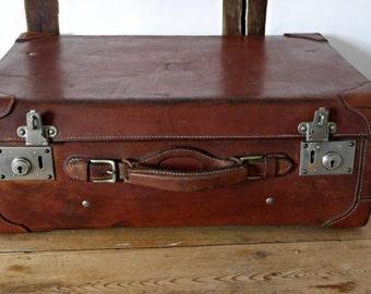 British Vintage suitcase Leather Monogrammed Large luggage-