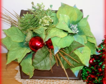 Poinsettia Arrangement Handcrafted Winter Floral Table Decor Centerpiece Green Poinettas Red Gold Accents Lidded Wood Box